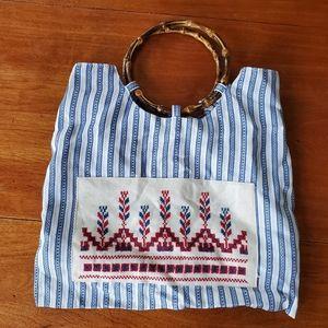 Handmade crosstitch handbag w/bamboo handle. EUC